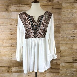NWT Chicos Cream and Brown Long Sleeve Tunic Sz 3P